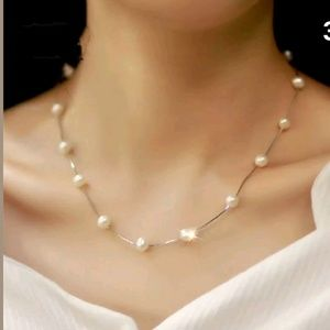 🔴Dainty and romantic silver and pearl necklace